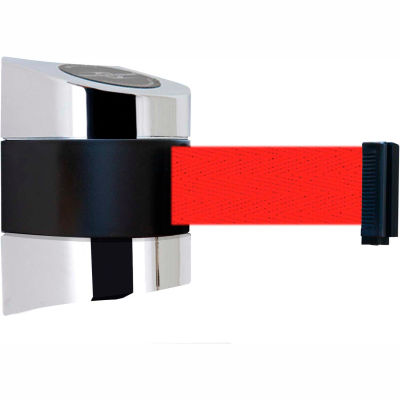Tensabarrier Safety Crowd Control, Retractable Wall Mount Barrier, Polished Chrome W/ 30' Red Belt
