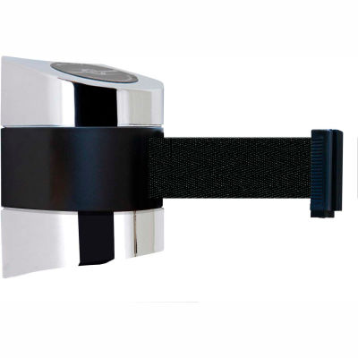 Tensabarrier Safety Crowd Control, Retractable Wall Mount Barrier, Polished Chrome W/ 30' Black Belt