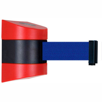 Tensabarrier Safety Crowd Control, Retractable Wall Mount Barrier, Red With 30' Blue Belt