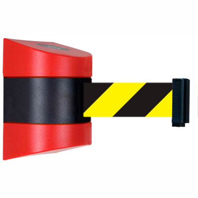 Tensabarrier Safety Crowd Control, Retractable Wall Mount Barrier, Red With 30' Black/Yellow Belt