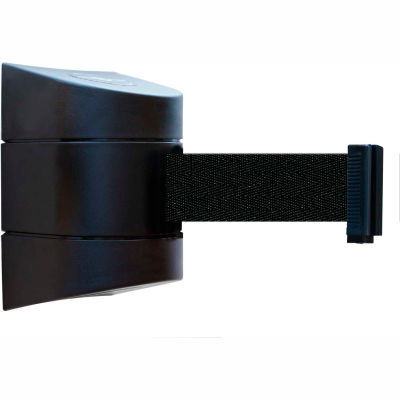 Tensabarrier Safety Crowd Control, Retractable Wall Mount Barrier, Black With 30' Black Belt