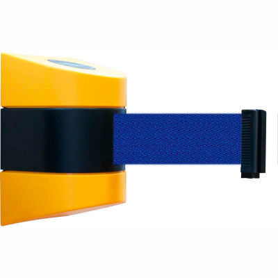 Tensabarrier Safety Crowd Control, Retractable Wall Mount Barrier, Yellow With 30' Blue Belt