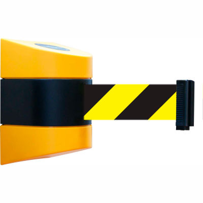 Tensabarrier Safety Crowd Control, Retractable Wall Mount Barrier, Yellow With 30' Black/Yellow Belt