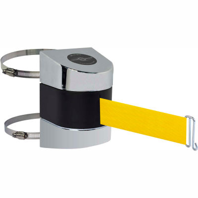 Tensabarrier Safety Crowd Control, Retractable Wall Clamp Mount Barrier, Pol Chrome W/ 24' Yllw Belt