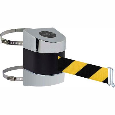 Tensabarrier Crowd Control Retractable Wall Clamp Mount Barrier, Pol Chrome W/ 24' Black/Yellow Belt
