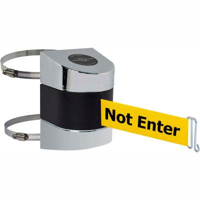 "Tensabarrier Crowd Control, Retractable Wall Clamp Mount Barrier, Pol Chrome 24' Yllw ""Caution"" Belt"
