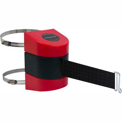 Tensabarrier Crowd Control, Retractable Clamp Wall Mount Barrier, Red 24' Black Belt And Wire Clip