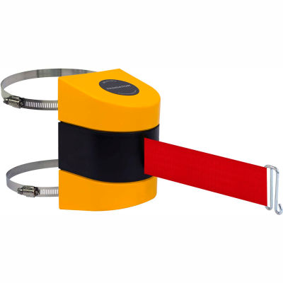 Tensabarrier Safety Crowd Control, Retractable Wall Clamp Mount Barrier, Yellow With 24' Red Belt