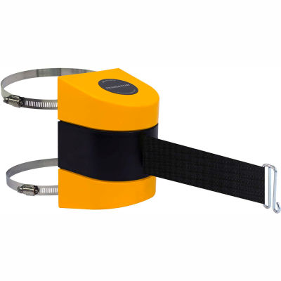 Tensabarrier Safety Crowd Control, Retractable Wall Clamp Mount Barrier, Yellow With 24' Black Belt