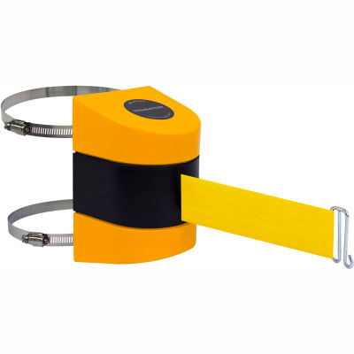 Tensabarrier Safety Crowd Control, Retractable Wall Clamp Mount Barrier, Yellow W/ 24' Yellow Belt