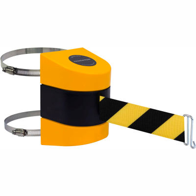 Tensabarrier Safety Crowd Control, Retractable Wall Clamp Mount Barrier Yellow W/ 24' Blk/Yllw Belt