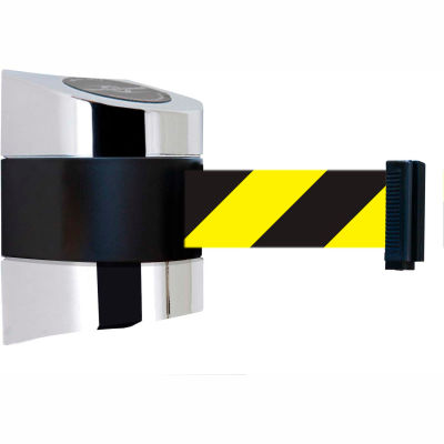 Tensabarrier Crowd Control, Retractable Wall Mount Barrier, Polished Chrome W/ 24' Black/Yellow Belt