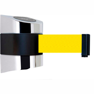 Tensabarrier Safety Crowd Control, Retractable Wall Mount Barrier, Polished Chrome W/ 24' Yllw Belt