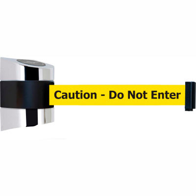 """Tensabarrier Crowd Control, Retractable Wall Mount Barrier, Polished Chrome 24' Yllw """"Caution"""" Belt"""