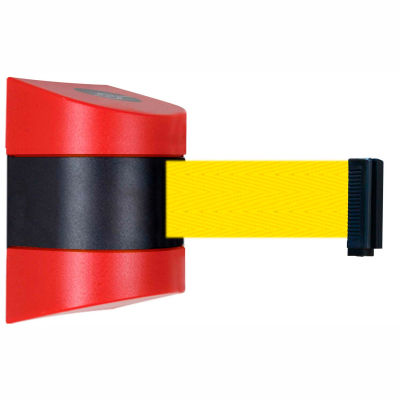 Tensabarrier Safety Crowd Control, Retractable Wall Mount Barrier, Red With 24' Yellow Belt