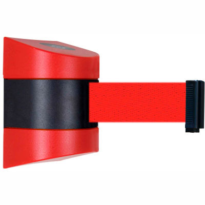 Tensabarrier Safety Crowd Control, Retractable Wall Mount Barrier, Red With 24' Red Belt