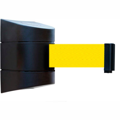 Tensabarrier Safety Crowd Control, Retractable Wall Mount Barrier, Black With 24' Yellow Belt