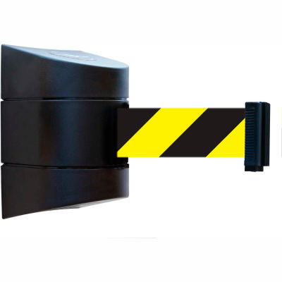 Tensabarrier Safety Crowd Control, Retractable Wall Mount Barrier, Black With 24' Black/Yellow Belt