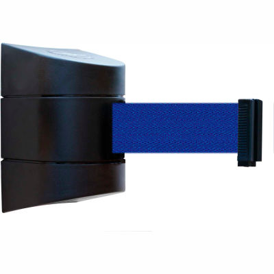 Tensabarrier Safety Crowd Control, Retractable Wall Mount Barrier, Black With 24' Blue Belt
