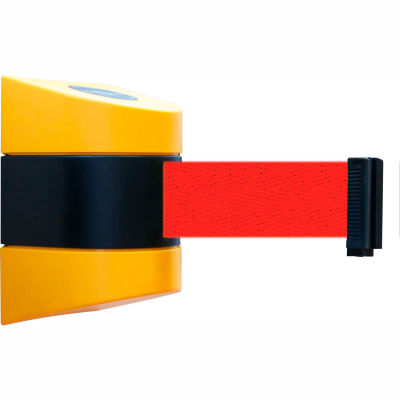 Tensabarrier Safety Crowd Control, Retractable Wall Mount Barrier, Yellow With 24' Red Belt