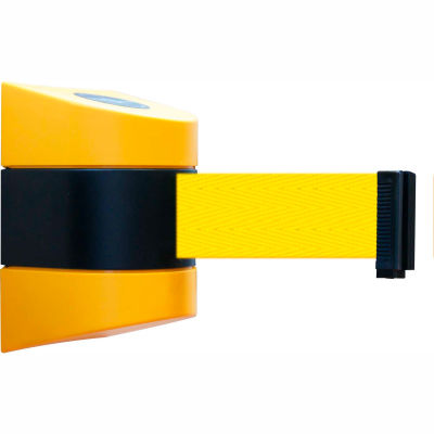 Tensabarrier Safety Crowd Control, Retractable Wall Mount Barrier, Yellow With 24' Yellow Belt