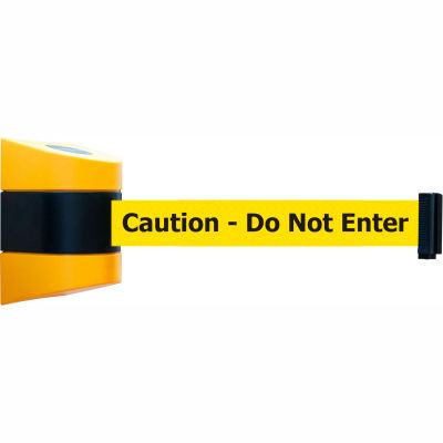 """Tensabarrier Safety Crowd Control, Retractable Wall Mount Barrier, Yllw W/ 24' Yellow """"Caution"""" Belt"""
