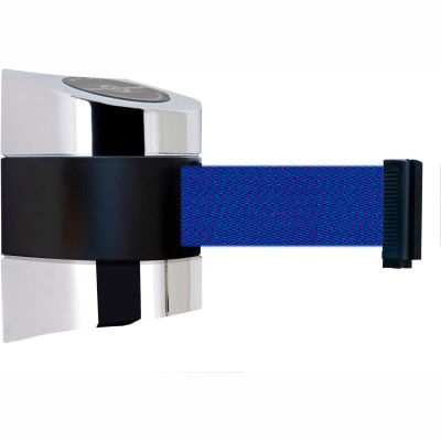 Tensabarrier Safety Crowd Control, Retractable Wall Mount Barrier, Polished Chrome W/ 15' Blue Belt
