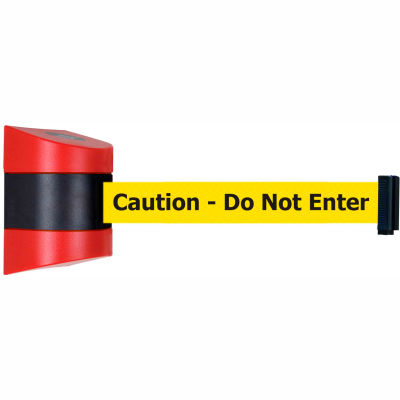 "Tensabarrier Safety Crowd Control, Wall Mount Retractable Barrier, Red W/ 15' Yellow ""Caution"" Belt"