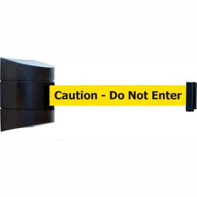 "Tensabarrier Safety Crowd Control, Retractable Wall Mount Barrier, Blk W/ 15' Yellow ""Caution"" Belt"