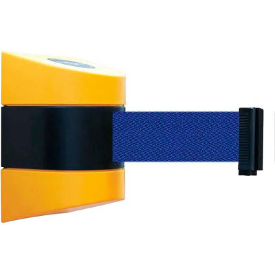 Tensabarrier Safety Crowd Control, Retractable Wall Mount Barrier, Yellow With 15' Blue Belt