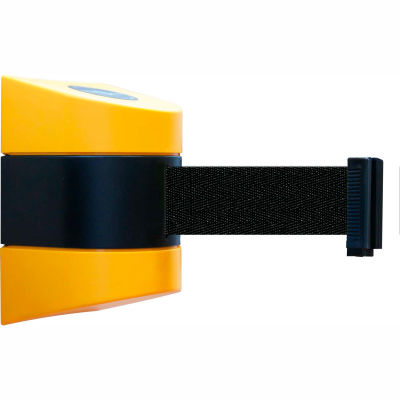 Tensabarrier Safety Crowd Control, Retractable Wall Mount Barrier, Yellow With 15' Black Belt