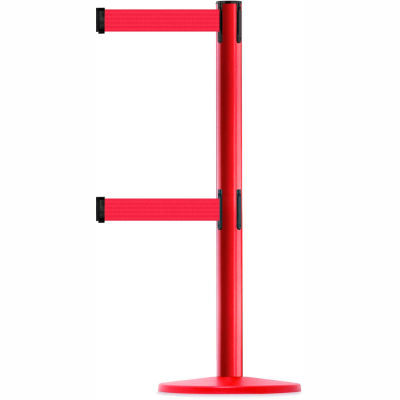 Tensabarrier Crowd Control, Queue Dual Stanchion Post, Red W/ 7.5' Red Retractable Belt Barrier