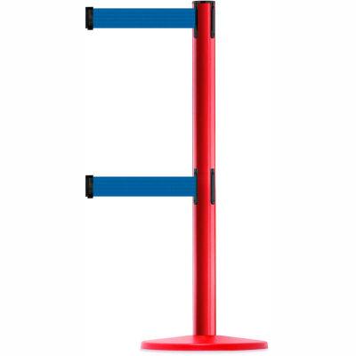 Tensabarrier Crowd Control, Queue Dual Stanchion Post, Red W/ 7.5' Blue Retractable Belt Barrier
