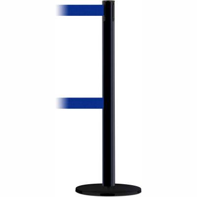 Tensabarrier Safety Crowd Control, Queue Dual Stanchion Post, Black W/ 7.5' Blue Retractable Belt
