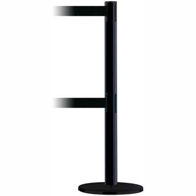 Tensabarrier Safety Crowd Control, Queue Dual Stanchion Post, Black W/ 7.5' Black Retractable Belt