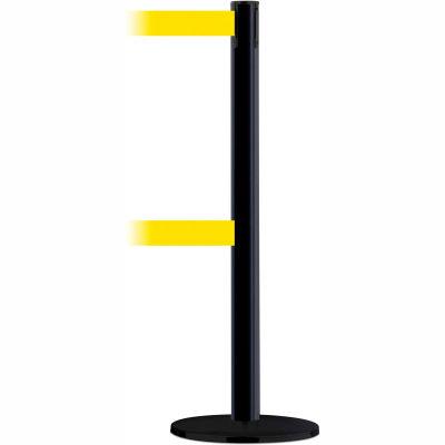 Tensabarrier Safety Crowd Control, Queue Dual Stanchion Post, Black W/ 7.5' Yellow Retractable Belt