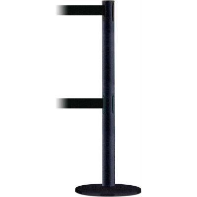 Tensabarrier Crowd Control, Queue Dual Stanchion Post, Black Wrinkle, 7.5'L Black Retractable Belt