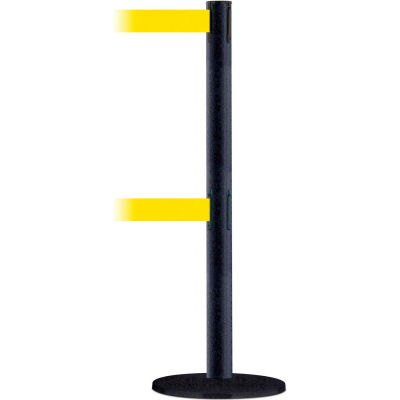 Tensabarrier Crowd Control, Queue Dual Stanchion Post, Black Wrinkle, 7.5'L Yellow Retractable Belt