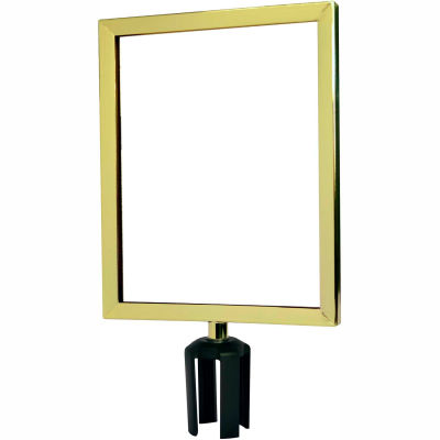 "Tensabarrier Sign Frame Post Stanchion 11X14"" Polished Brass"