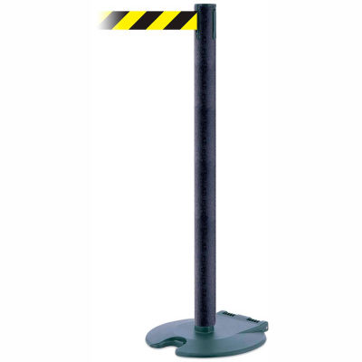 Tensabarrier Crowd Control, Queue Wheeled Stanchion Post Wrinkle 13' Black/Yellow Retractable Belt