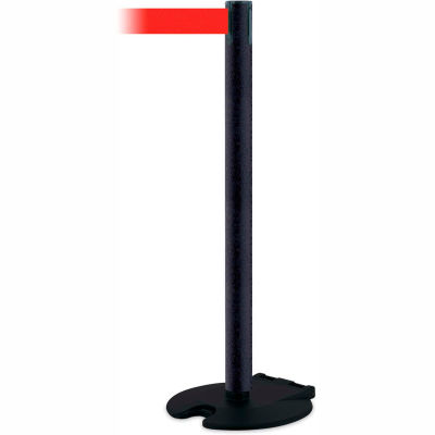 Tensabarrier Crowd Control Queue Wheeled Stanchion Post Blk Wrinkle 13' Red Retractable Belt Barrier