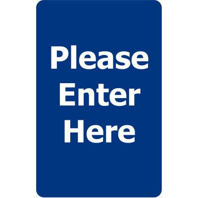 "Tensabarrier Acrylic Sign - Please Enter Here 7X11"" Blue"