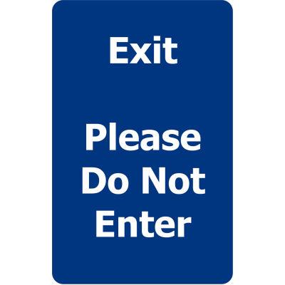 "Tensabarrier Blue 7""x11"" 1/4"" Classic Acrylic Sign - Exit Please Do Not Enter"