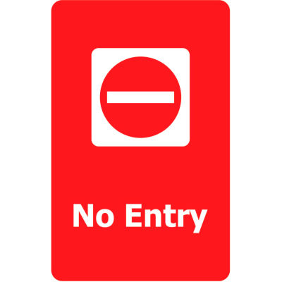 "Tensabarrier Acrylic Sign - No Entry 7X11"" Red"