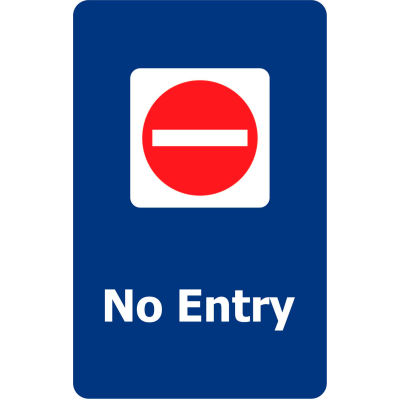 """Tensabarrier Blue 7""""x11"""" 1/4"""" Classic Acrylic Sign - No Entry"""