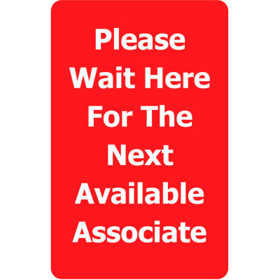 """Tensabarrier Red 7""""x11"""" 1/4"""" Classic Acrylic Sign - Please Wait Here For Next Avaliable Associate"""