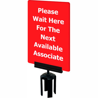 """Tensabarrier Acrylic Sign - Please Wait Here For The Next Available Associate 7X11"""" Red"""