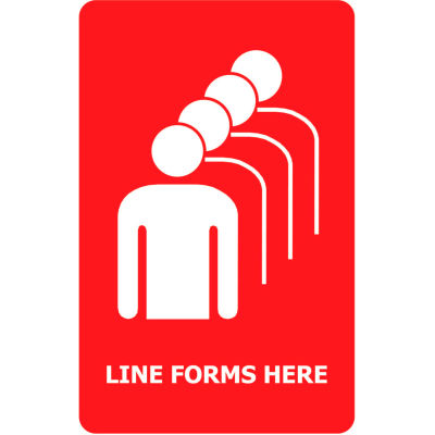 """Tensabarrier Acrylic Sign - Line Forms Here 7X11"""" Red"""