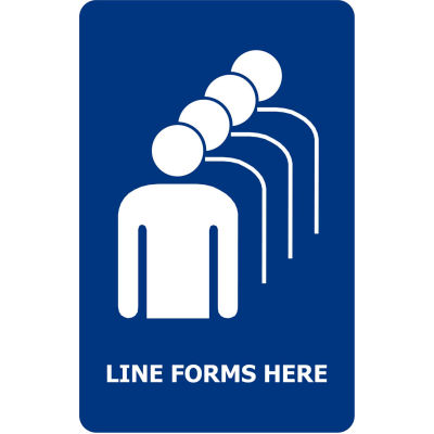 """Tensabarrier Blue 7""""x11"""" 1/4"""" Classic Acrylic Sign - Line Forms Here"""