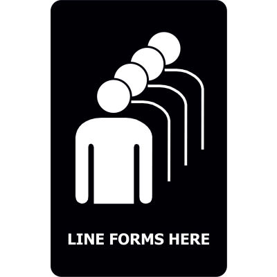 "Tensabarrier Acrylic Sign, Black - ""Line Forms Here"" 7X11"" Black"